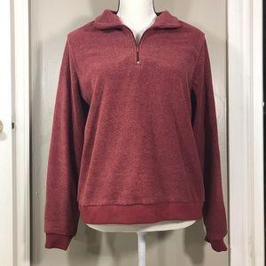 Cherokee burgundy fuzzy quarter zip sweater